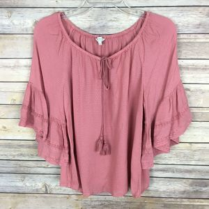 Lucky Brand Knit Top Small Pink Tie Neckline